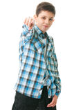 You must follow me!. A wicked smirked teen is pointing forward; isolated on the white background royalty free stock image