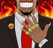 You must obey. Conceptual illustration of evil employer. He has a devilish aspect and shows his golden rings: every ring has a letter to compose the word boss Royalty Free Stock Photo