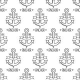 You Are My Anchor seamless pattern. Nautical Design. Sailor vector illustration on white background. Hand drawing. Vintage Label Stock Illustration