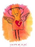 You are my angel. Drawn card on a watercolor background Stock Images