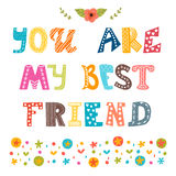 You are my best friend. Cute hand drawn postcard Royalty Free Stock Photo