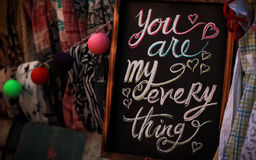 You Are My Everything on a Chalkboard Slate Stock Images