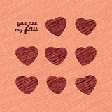 'You are my Fav' Happy Valentine's Day Sweet Card. Love Card with hearts. Royalty Free Stock Image