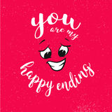 You are my happy ending Quote around smiling Face on Red Royalty Free Stock Images