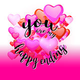 You are my happy ending Quote on Red Rising Hearts Royalty Free Stock Photo