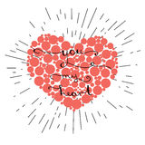 You my heart- original hand lettering on red heart Royalty Free Stock Photography