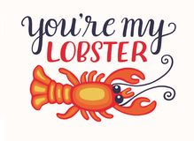 You are my lobster Valentine card Royalty Free Stock Photography