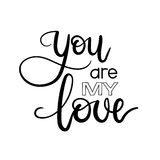 You are My Love handwritten lettering card. Modern calligraphy inscription. Valentines greeting card. Vector illustration. You are My Love handwritten lettering stock illustration