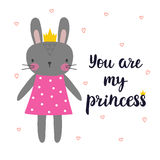You are my princess. Cute little bunny with crown. Romantic card, greeting card or postcard. Illustration with beautiful rabbit wi Stock Photo