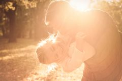 You are my sunshine. Father enjoying in autumn day with daughter. Close up royalty free stock photography