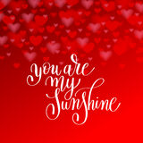 You are my sunshine handwritten lettering quote about love to va Stock Photo