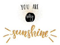 You are my sunshine - Happy Valentine`s Day card with golden glitter effect on white background. You are my sunshine - Happy Valentine`s Day card with golden Royalty Free Stock Photography