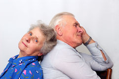 You are my support. Happy old couple looking to the camera. over white Royalty Free Stock Photo