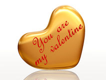 You are my valentine in golden heart Royalty Free Stock Photography