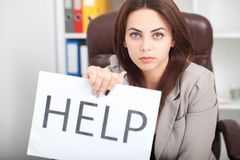 You need help ? The beautiful business woman at office asks of t Stock Images