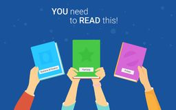 You need to read this book concept vector illustration of young people reading books Royalty Free Stock Image