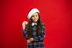 You are next. Present for Xmas. Childhood. New year party. Santa claus kid. Christmas shopping. Happy winter holidays. Small girl. Little girl child in santa stock photography