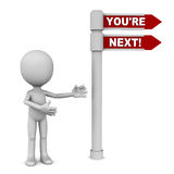 You are next. You're next text on a road sign, little 3d man showing way towards your turn Royalty Free Stock Images