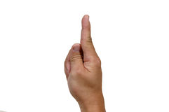 You are no 1. Finger pointing up on white background stock image