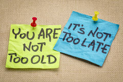 You are not too old. It is not too late. Motivational advice or reminder on colorful sticky notes Stock Image