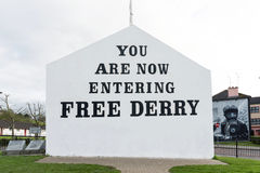 `You are now entering free Derry` mural in the Bogside, Derry, Northern Ireland Stock Photos