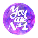 You a number one watercolor badge Abstract watercolor round design Stock Photos