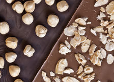 Are you nuts for chocolate?. Chunky dark chocolate and milk chocolate laden with almonds and nuts Royalty Free Stock Images