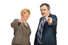 You are the one!Mature people pointing Royalty Free Stock Photo