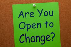 Are You Open to Change. On green paper sheet pinned on cork board. Business concept royalty free stock image