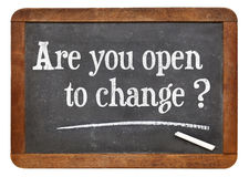Are you open to change?. Are you open to change question - white chalk text on a vintage slate blackboard royalty free stock images