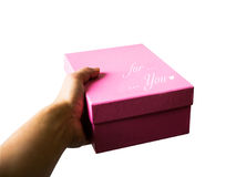 For you on pink box present gift. Isolated on white background with clipping path Royalty Free Stock Photography
