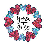 You plus me. Modern calligraphy print. Valentines day greeting card Stock Images