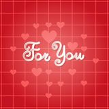 For You Poster Valentines Day Greeting Card Invitation Decoration. Vector Illustration Stock Photo