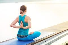 When you practice baddha padmasana. When you meet the morning sun and practice baddha padmasana Stock Images