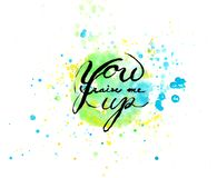 You raise me up by watercolor art with calligraphy design in green and blue theme color background.  Royalty Free Stock Photography