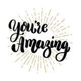 You`re amazing. Hand drawn motivation lettering quote. Design element for poster, banner, greeting card. Vector illustration Stock Image