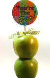 You're The Best. Two granny smith apples skewered onto a You're the Best stick Royalty Free Stock Photos