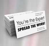 You're the Expert Spread Word Business Cards Royalty Free Stock Image