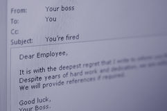 You're Fired. An email from a boss to his/her employee informing him/her that he/she has been fired Royalty Free Stock Image