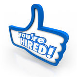You're Hired Words Thumbs Up Symbol Interview Accepted Approval Stock Photography