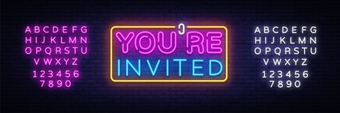 You`re Invited neon text vector design template. Neon logo, light banner design element colorful modern design trend. Night bright advertising, bright sign stock illustration
