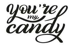 You`re my candy. Declaration of love. Romantic hand lettering. Holiday greetings. Vector. vector illustration