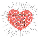 You re my heart-  hand lettering on red heart Stock Photo