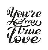 You`re my true love. Romantic hand lettering. Declaration of love. stock illustration