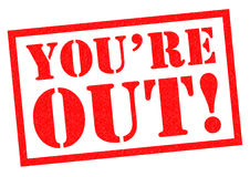 YOU`RE OUT! Rubber Stamp Royalty Free Stock Image