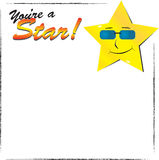 You're a star. Frame with grunge borders, star and text Royalty Free Stock Image