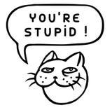 You`re Stupid! Cartoon Cat Head. Speech Bubble. Vector Illustration. Stock Photo