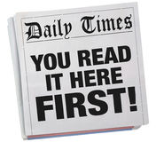 You Read it Here First Exclusive Newspaper Headline 3d Illustration royalty free illustration