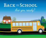 Are you ready for back to school. Yellow school bus on street in front of a house with text Stock Image