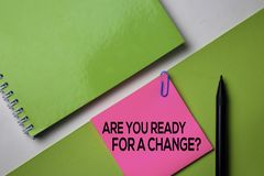 Are You Ready For a Change? text on top view office desk table of Business workplace and business objects royalty free stock images